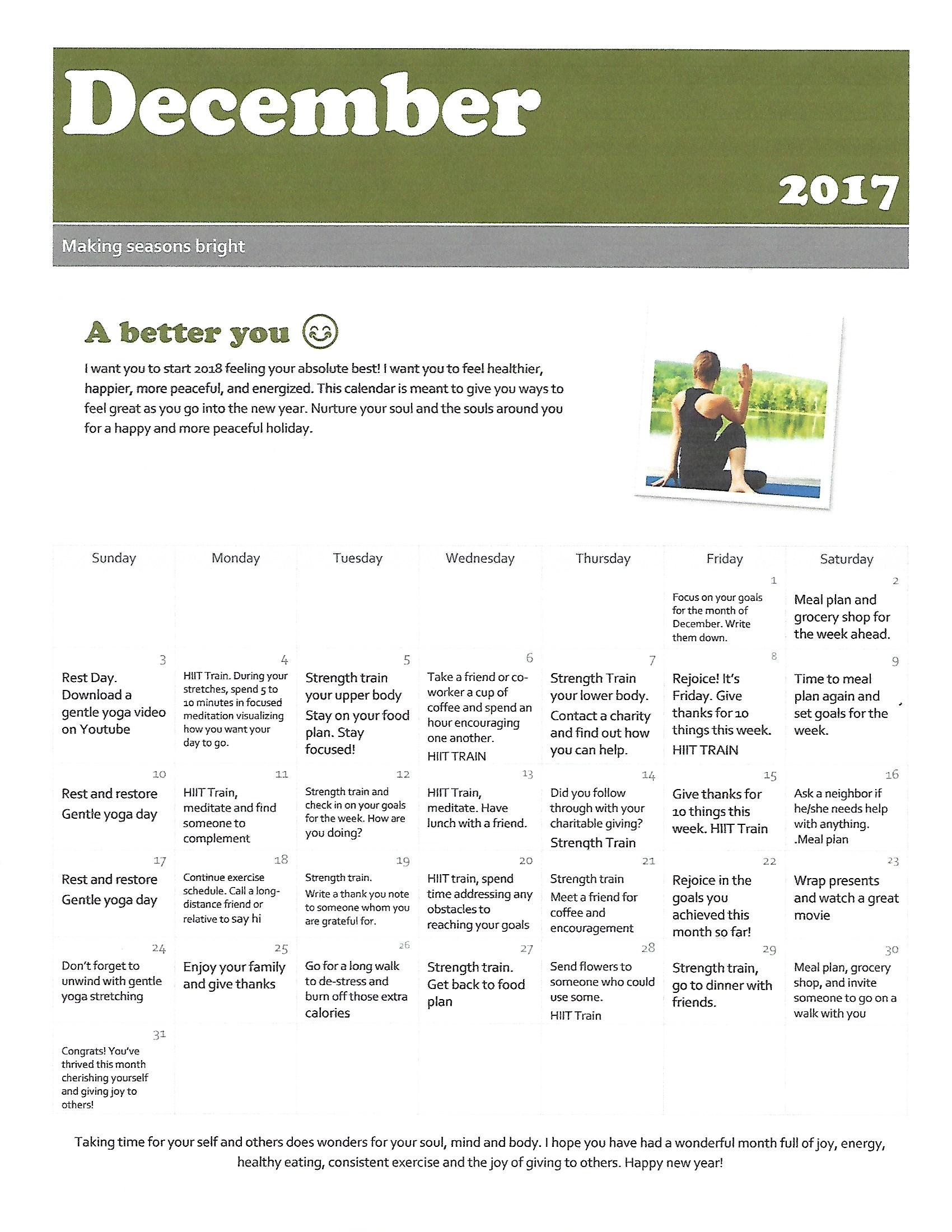 Calendar Of Giving Tmc To Health Personal Training Nutritional